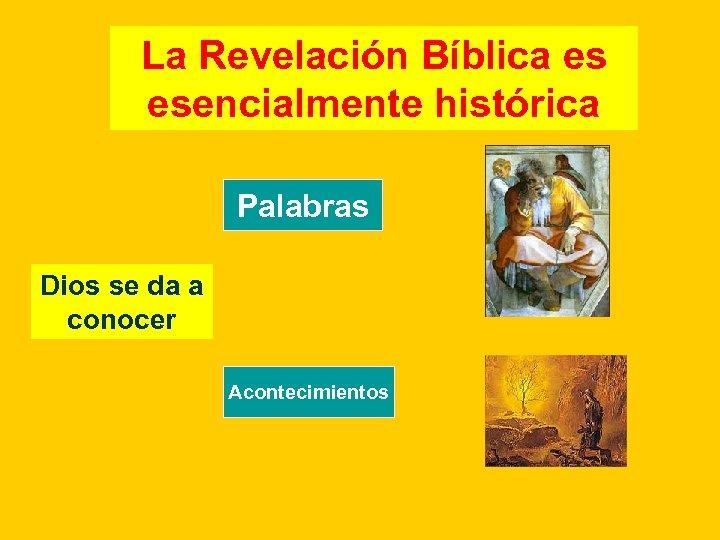 La Revelación Bíblica es esencialmente histórica Palabras Dios se da a conocer Acontecimientos