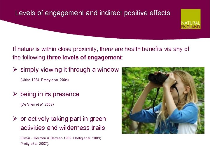 Levels of engagement and indirect positive effects If nature is within close proximity, there