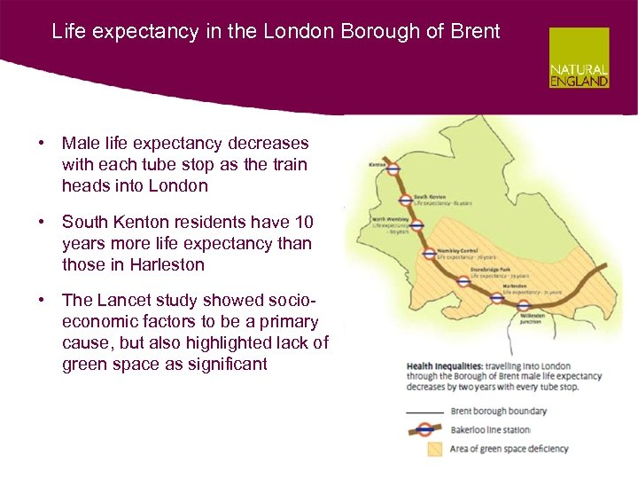 Life expectancy in the London Borough of Brent • Male life expectancy decreases with