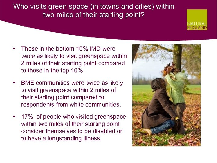 Who visits green space (in towns and cities) within two miles of their starting