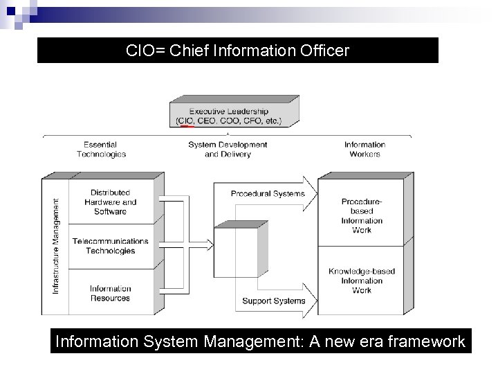 CIO= Chief Information Officer Information System Management: A new era framework