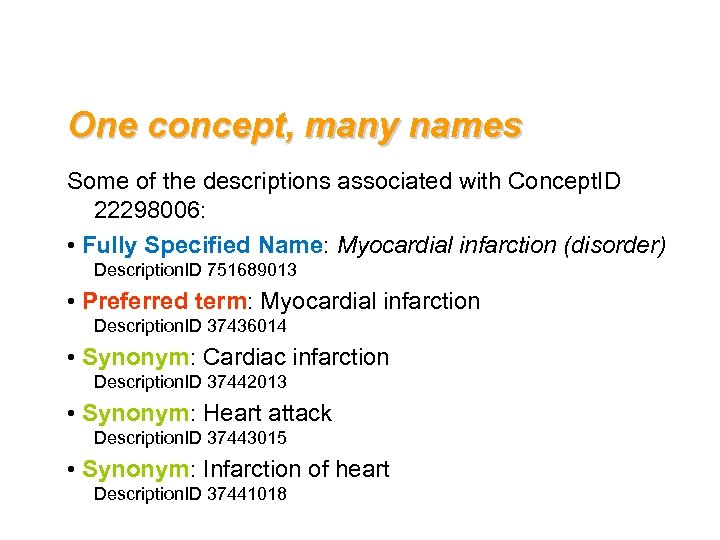 One concept, many names Some of the descriptions associated with Concept. ID 22298006: •