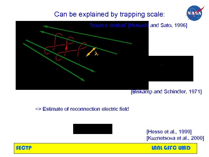 """Can be explained by trapping scale: """"bounce motion"""" [Horiuchi and Sato, 1996] [Biskamp and"""