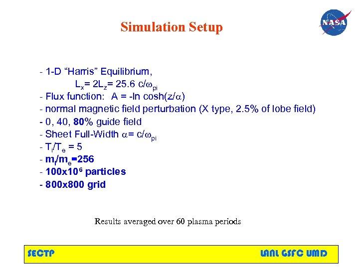 "Simulation Setup - 1 -D ""Harris"" Equilibrium, Lx= 2 Lz= 25. 6 c/wpi -"