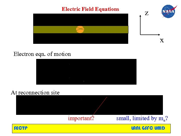 Electric Field Equations z x Electron eqn. of motion At reconnection site important? SECTP