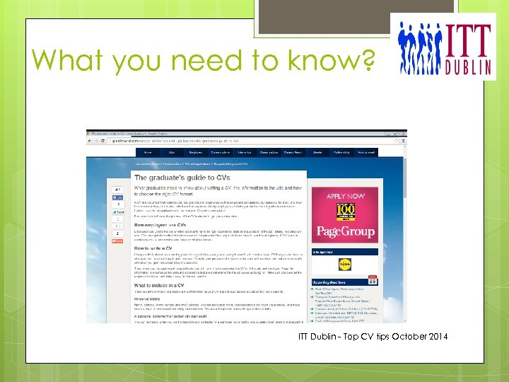 What you need to know? ITT Dublin - Top CV tips October 2014