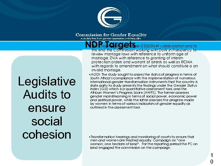 • This chapter also envisages CGE/Do. W collaboration and to NDP Targetsworking with