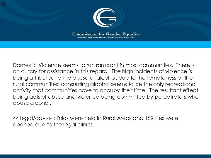 5 Domestic Violence seems to run rampant in most communities. There is an outcry