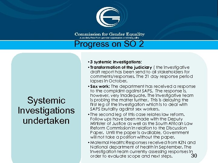 Progress on SO 2 Systemic Investigations undertaken • 3 systemic investigations; • Transformation of
