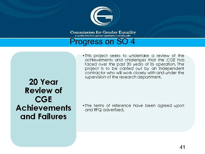 Progress on SO 4 20 Year Review of CGE Achievements and Failures • This