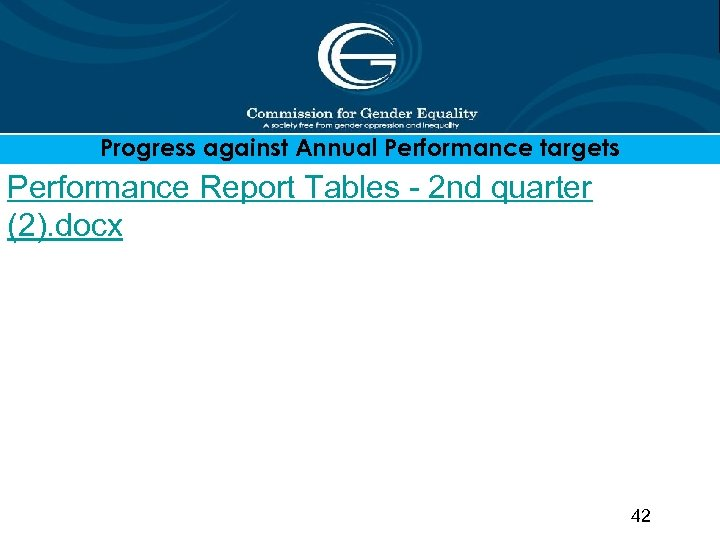 Progress against Annual Performance targets Performance Report Tables - 2 nd quarter (2). docx
