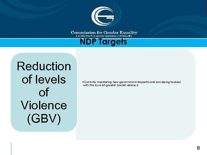 NDP Targets Reduction of levels of Violence (GBV) • Currently monitoring how government departments