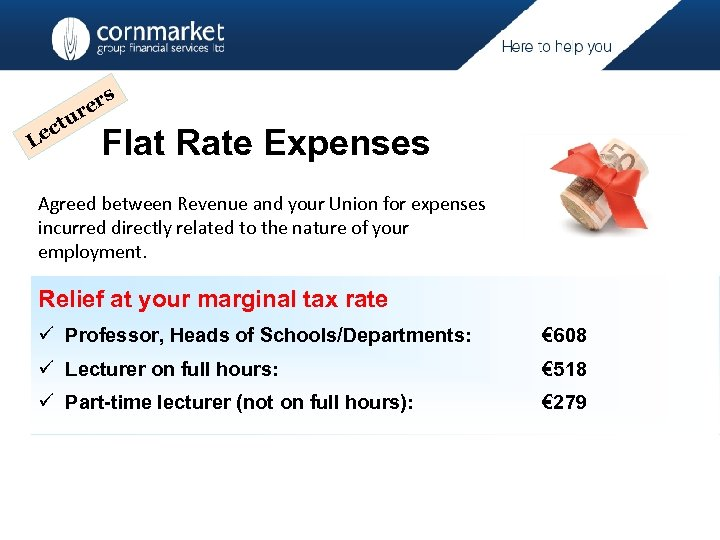 r re ctu e L s Flat Rate Expenses Agreed between Revenue and your