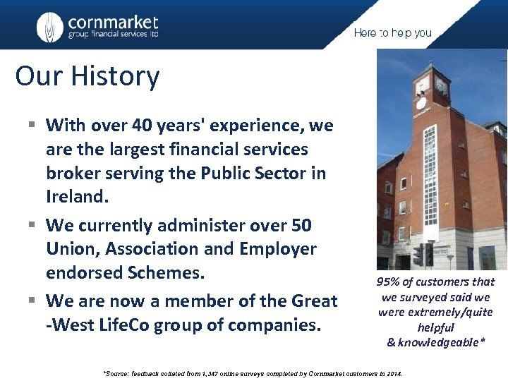 Our History § With over 40 years' experience, we are the largest financial services