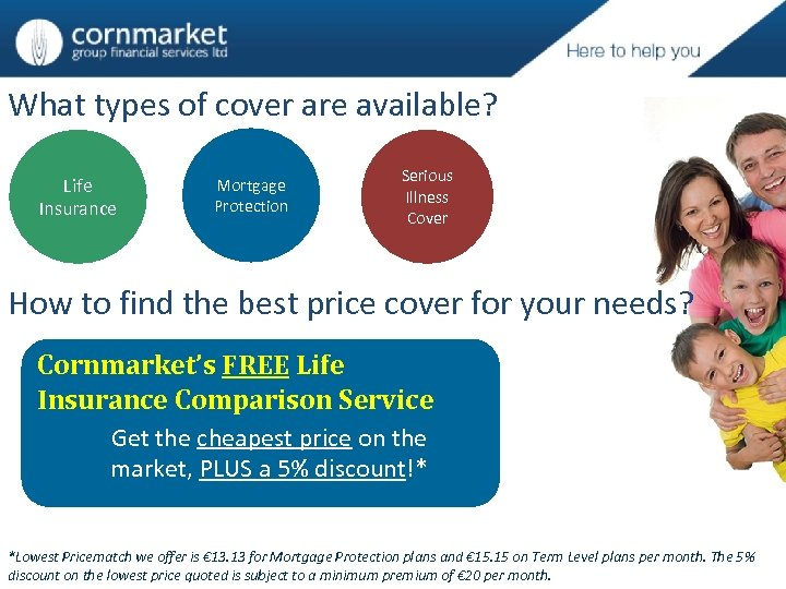 What types of cover are available? Life Insurance Mortgage Protection Serious Illness Cover How