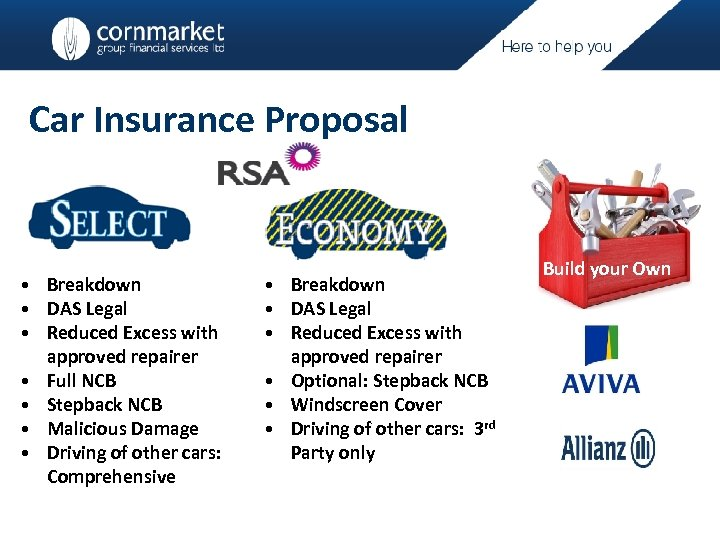 Car Insurance Proposal • Breakdown • DAS Legal • Reduced Excess with approved repairer