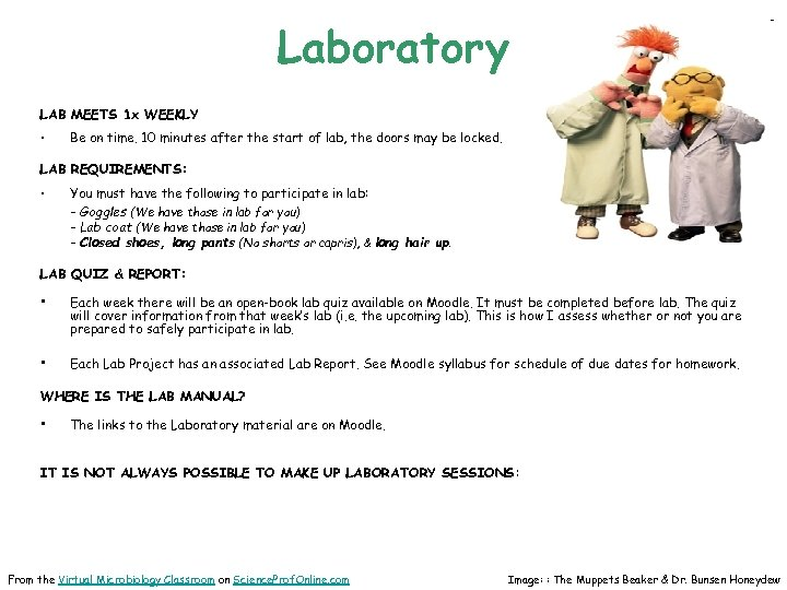 Laboratory LAB MEETS 1 x WEEKLY • Be on time. 10 minutes after the