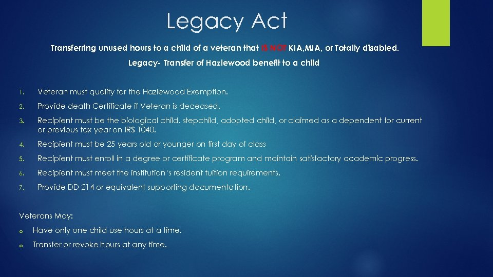Legacy Act Transferring unused hours to a child of a veteran that IS NOT