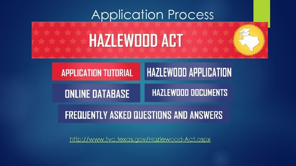 Application Process http: //www. tvc. texas. gov/Hazlewood-Act. aspx