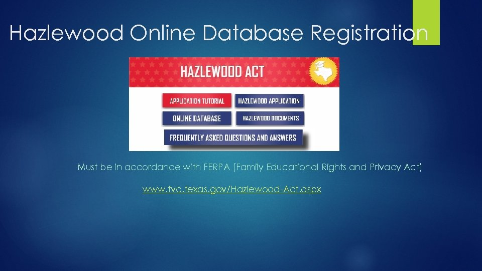 Hazlewood Online Database Registration Must be in accordance with FERPA (Family Educational Rights and