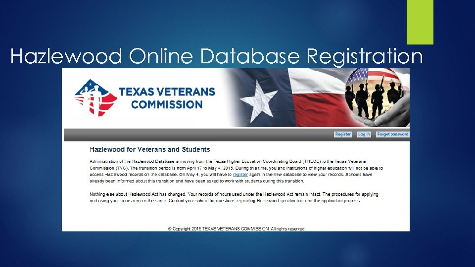 Hazlewood Online Database Registration