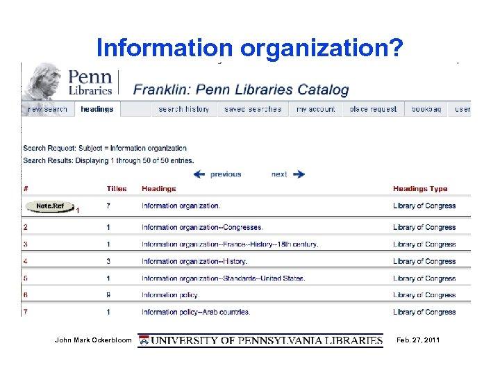 Information organization? John Mark Ockerbloom Feb. 27, 2011