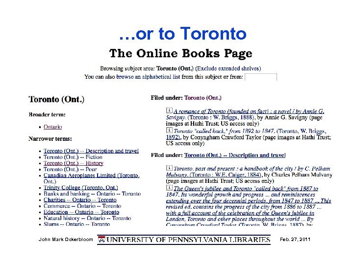 …or to Toronto John Mark Ockerbloom Feb. 27, 2011