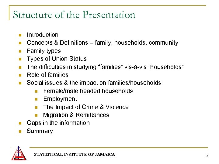 Structure of the Presentation n n n n Introduction Concepts & Definitions – family,
