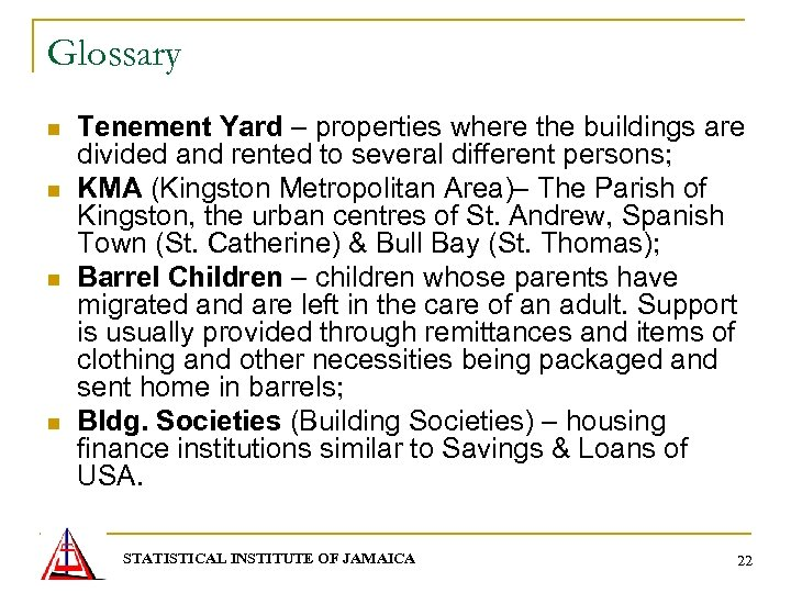 Glossary n n Tenement Yard – properties where the buildings are divided and rented