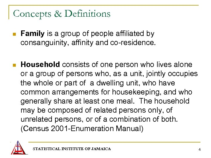 Concepts & Definitions n Family is a group of people affiliated by consanguinity, affinity