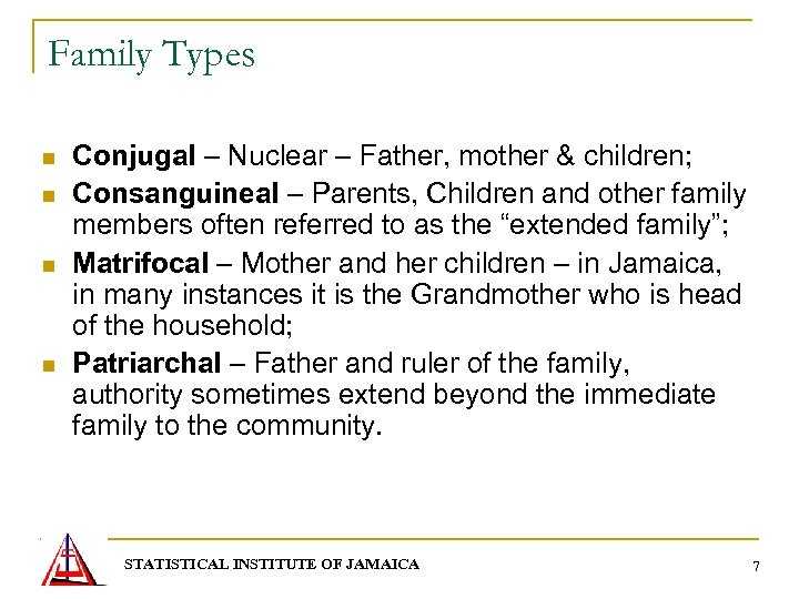 Family Types n n Conjugal – Nuclear – Father, mother & children; Consanguineal –