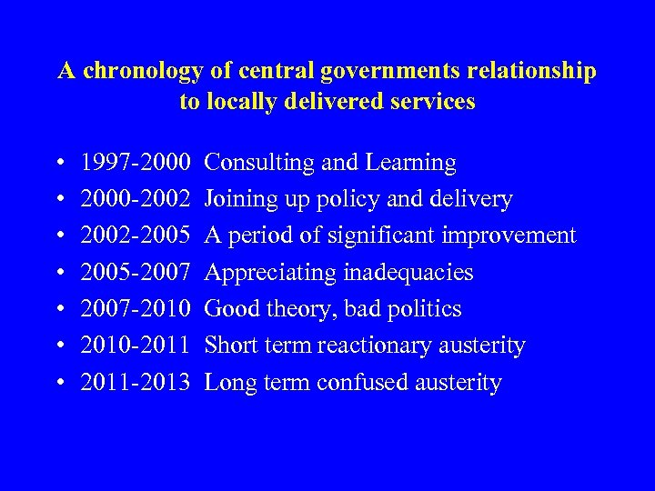 A chronology of central governments relationship to locally delivered services • • 1997 -2000