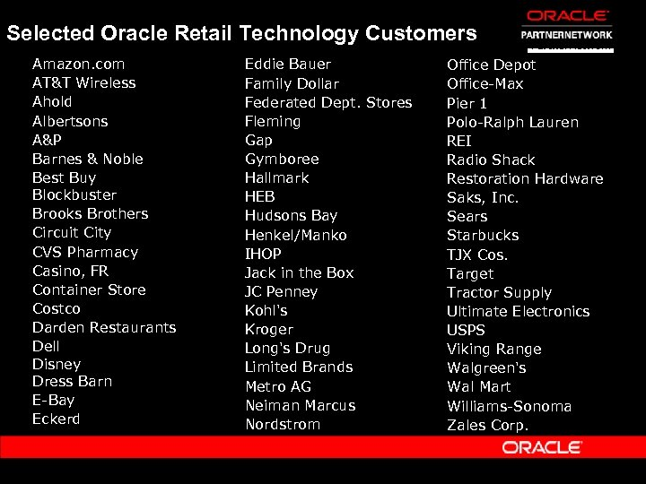 Selected Oracle Retail Technology Customers Amazon. com AT&T Wireless Ahold Albertsons A&P Barnes &