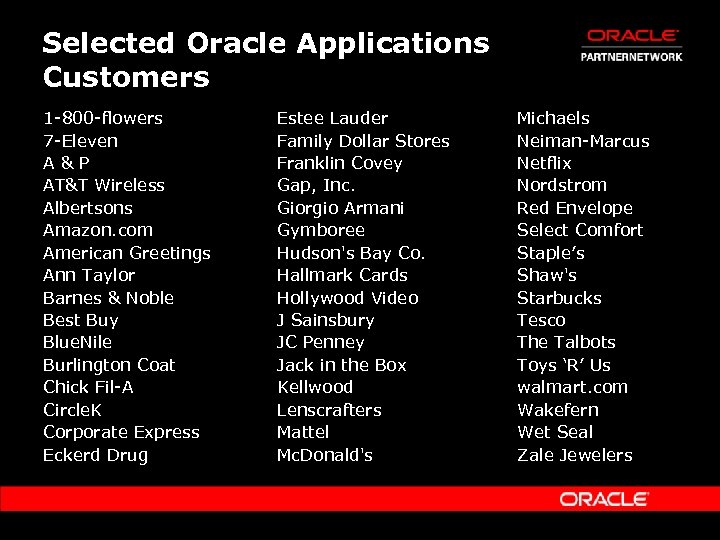 Selected Oracle Applications Customers 1 -800 -flowers 7 -Eleven A&P AT&T Wireless Albertsons Amazon.