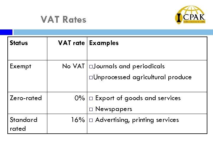 VAT Rates Status Exempt Zero-rated Standard rated VAT rate Examples No VAT ¨ Journals