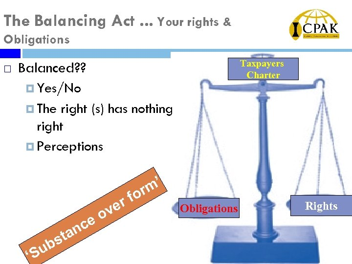 The Balancing Act. . . Your rights & Obligations ¨ Taxpayers Charter Balanced? ?