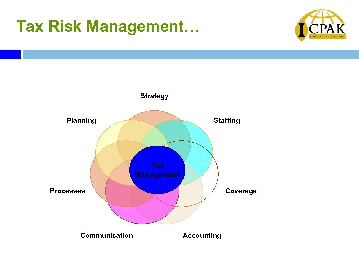 Tax Risk Management… Strategy Planning Staffing Tax Management Processes Communication Coverage Accounting
