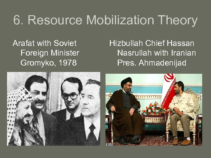 6. Resource Mobilization Theory Arafat with Soviet Foreign Minister Gromyko, 1978 Hizbullah Chief Hassan