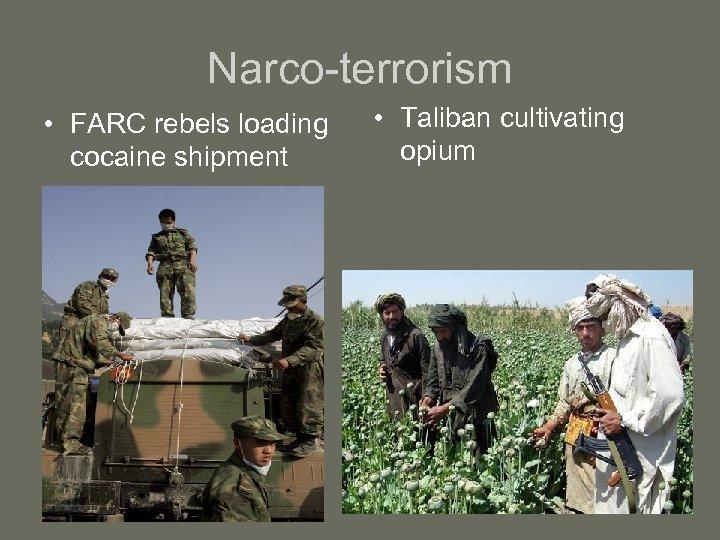 Narco-terrorism • FARC rebels loading cocaine shipment • Taliban cultivating opium