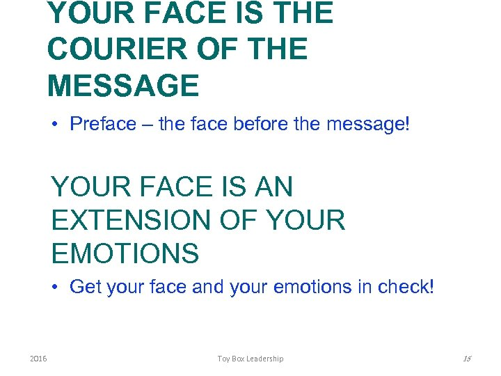 YOUR FACE IS THE COURIER OF THE MESSAGE • Preface – the face before