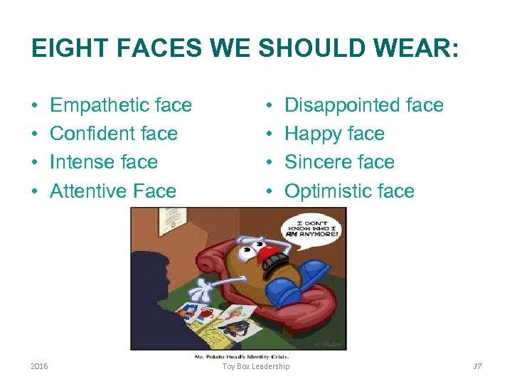 EIGHT FACES WE SHOULD WEAR: • • 2016 Empathetic face Confident face Intense face