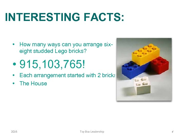 INTERESTING FACTS: • How many ways can you arrange sixeight studded Lego bricks? •