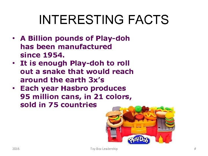 INTERESTING FACTS • A Billion pounds of Play-doh has been manufactured since 1954. •