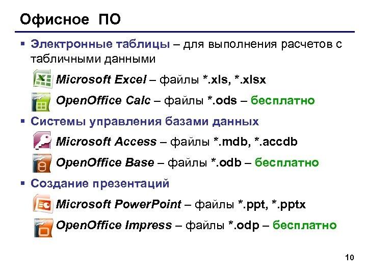 Офисное ПО § Электронные таблицы – для выполнения расчетов с табличными данными Microsoft Excel