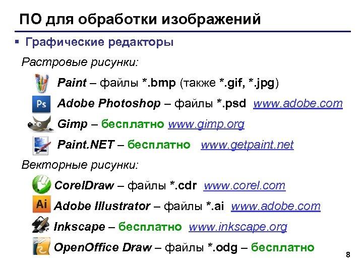 ПО для обработки изображений § Графические редакторы Растровые рисунки: Paint – файлы *. bmp