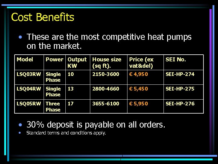 Cost Benefits • These are the most competitive heat pumps on the market. Model