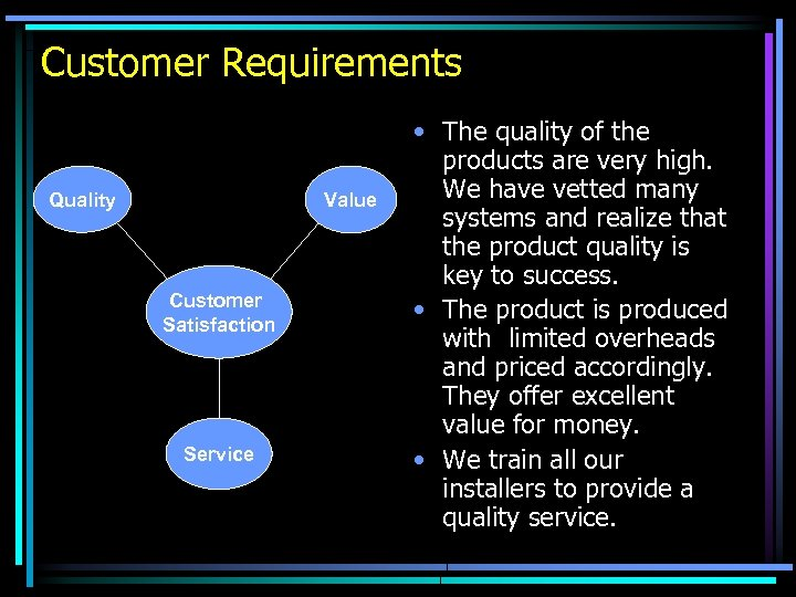 Customer Requirements Quality Value Customer Satisfaction Service • The quality of the products are