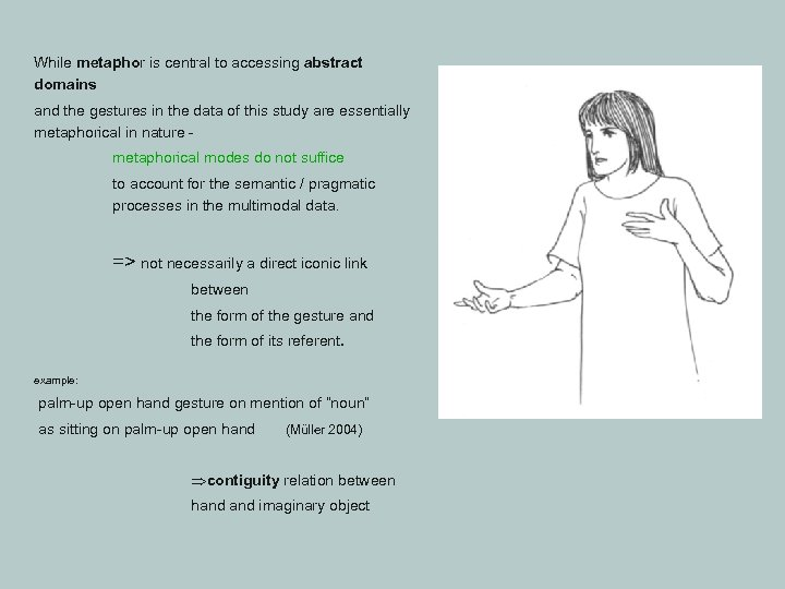 While metaphor is central to accessing abstract domains and the gestures in the data