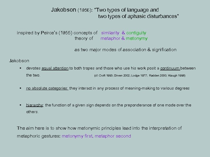 """Jakobson (1956): """"Two types of language and two types of aphasic disturbances"""" inspired by"""