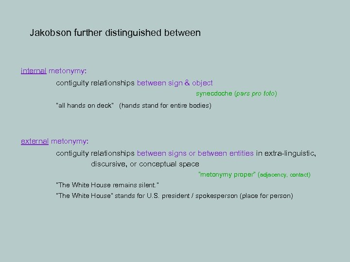 Jakobson further distinguished between internal metonymy: contiguity relationships between sign & object synecdoche (pars